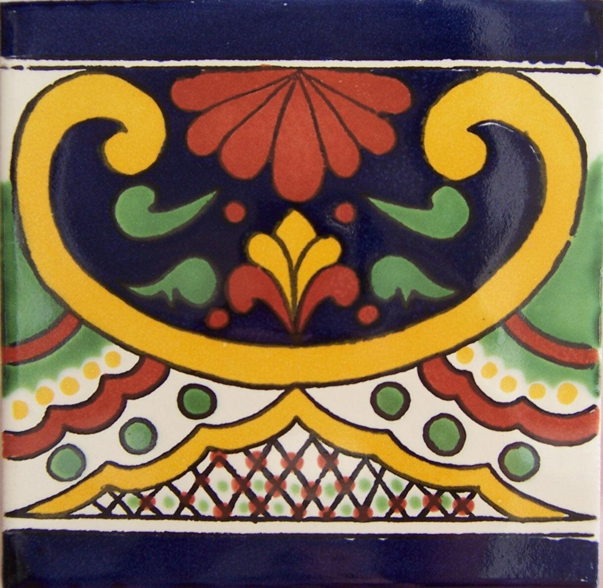 C259- Mexican Handmade Talavera Clay Tile Folk Art 4x4