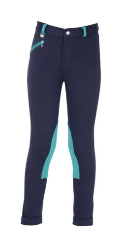 """Hy PERFORMANCE Childrens Belton Every Day Durable Jodhpurs Navy//Pink//Teal 18-30/"""""""