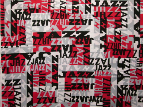 MOD JAZZ WORDS NEW ORLEANS RED BLACK GRAY COTTON FABRIC FQ