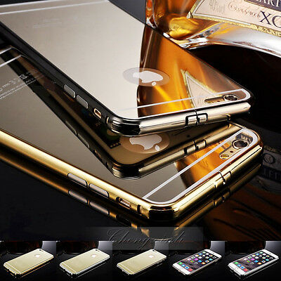 Luxury Aluminum Ultra-thin Mirror Metal Case for Apple iPhone 5 5S/6/6 Plus+Film