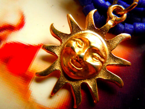 Edler hochwertiger 24 Kt handmade vergoldeter Sonnen-Anhänger 30mm