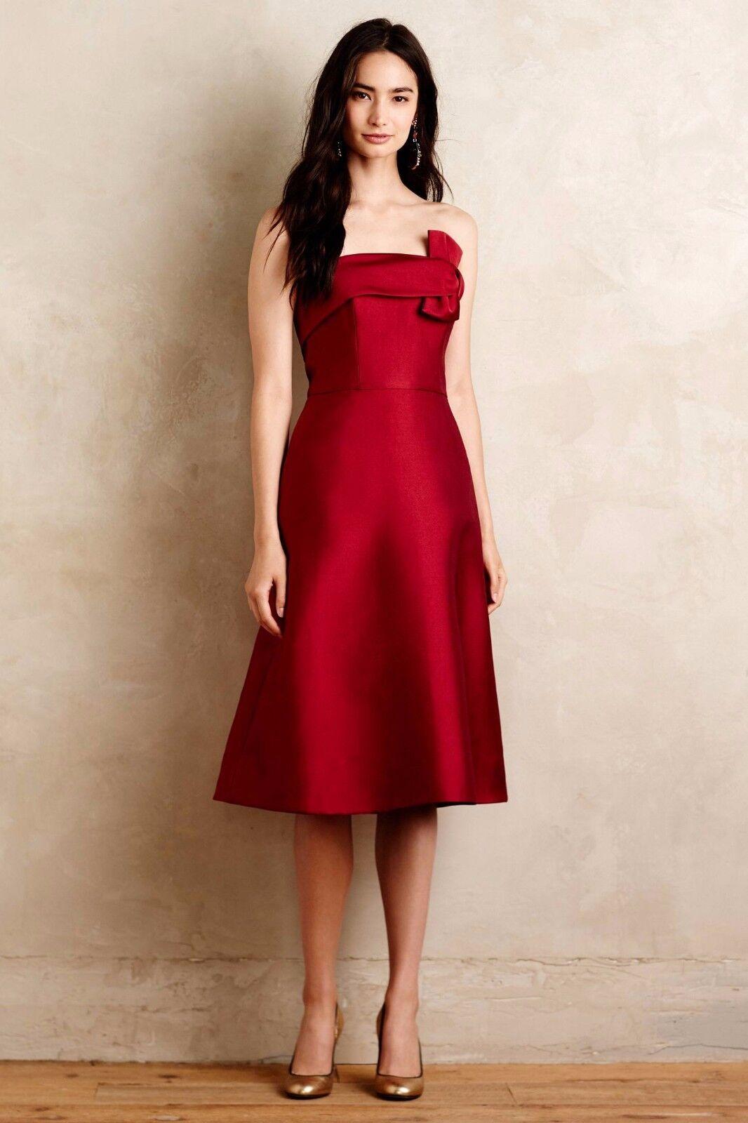 Neuf avec étiquettes Erin Fetherston Kacravate soyeux Twill Bow sans bretelles une ligne jupe robe 0 XS