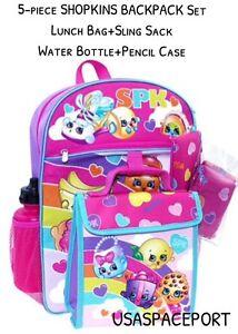 5pc SHOPKINS Girls BACKPACK+Lunch Kit+Sling