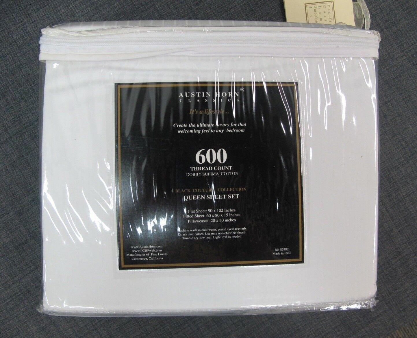 Austin Horn Classics 600 Thread Count Dobby Supima White Cotton Sheet Set Queen