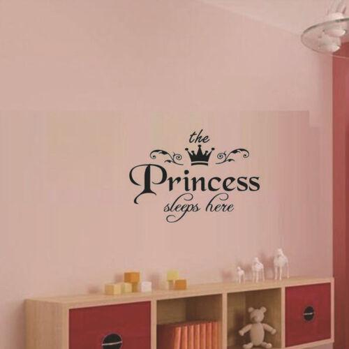 Princesse dort Baby Kids Fille Citer Mur Autocollant Art Chambre Amovible Décalques QP