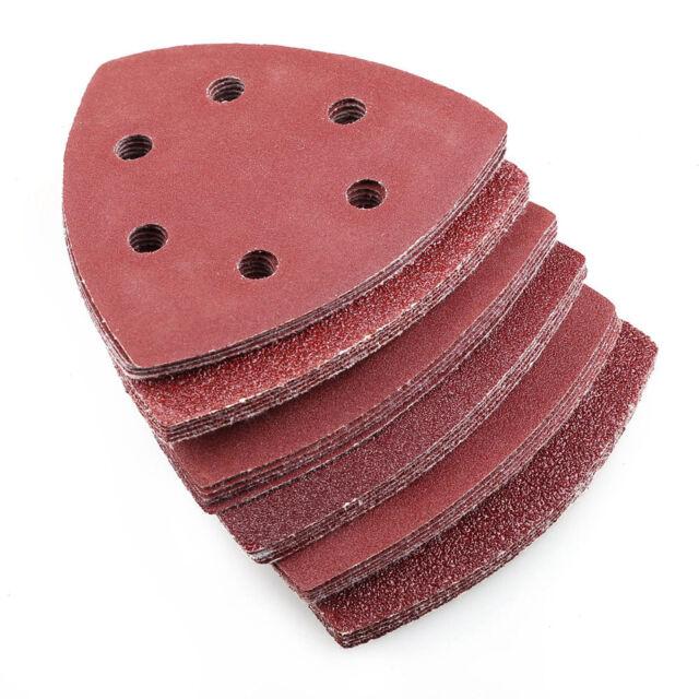 60x 6 Hole Sanding Discs Sheet Triangle Mouse Sandpaper Grinder Pads Palm Sander