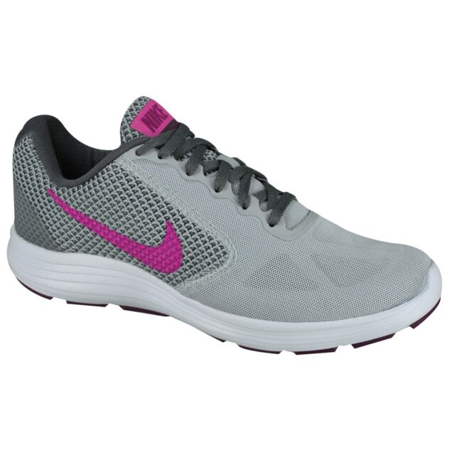 55b0268e216f WMNS Nike Revolution 3 III Wolf Grey Fire Pink Women Running Shoes ...