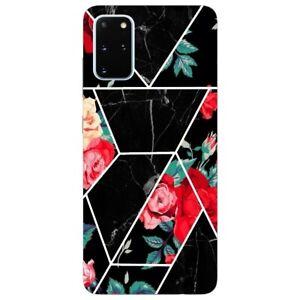 Coque Galaxy Note 10 LITE marbre noir et fleur rouge