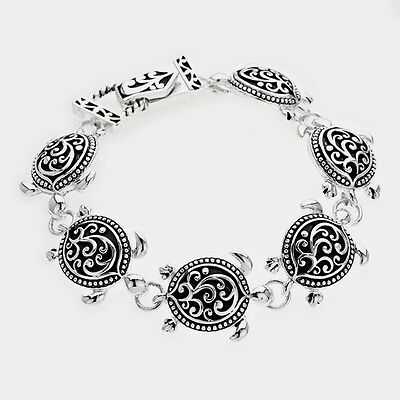 Turtle Bracelet Magnetic Clasp Bangle Floral Filigree SILVER ABALONE SHELL ST2