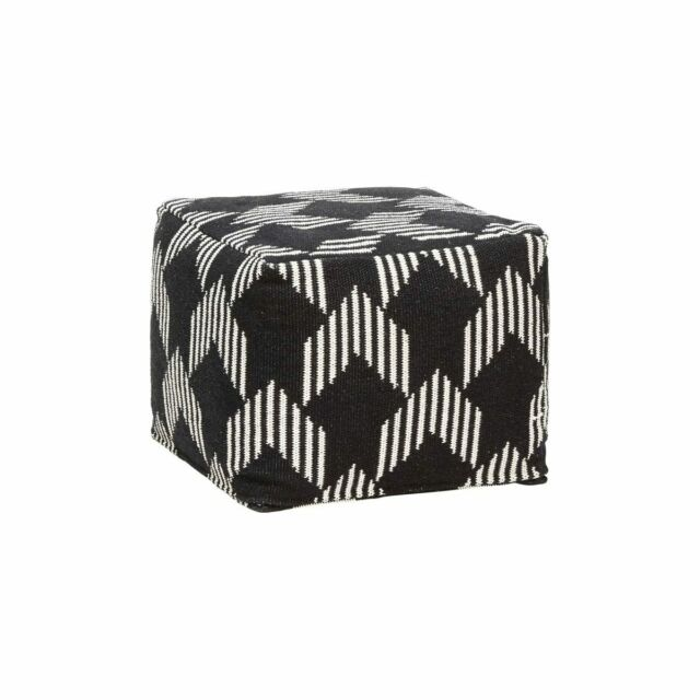 Tremendous Square Cotton Pouf In Black White Pattern By Hubsch Evergreenethics Interior Chair Design Evergreenethicsorg