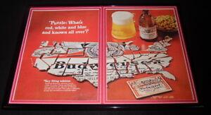 1968-Budweiser-Beer-USA-12x18-Framed-ORIGINAL-Vintage-Advertising-Display