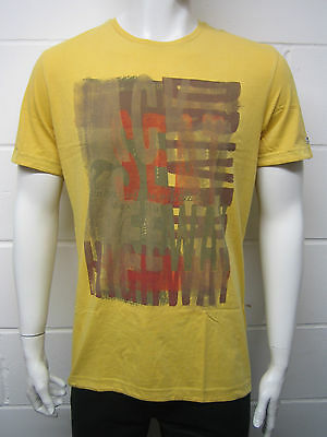 Mens Mexx R Neck T Shirt Top Back Seat Print - Mustard Yellow Size M to 3XL D3
