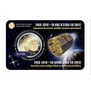 Coincard-2-euros-BELGIQUE-2018-FRANCAIS-ESRO-2B-Premier-Satellite-Europeen