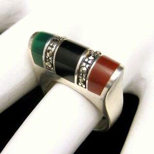 Vintage-925-Sterling-Silver-Ring-Inlaid-Jade-Onyx-Carnelian-Marcasites