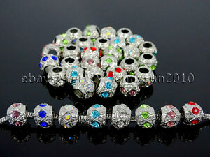 Czech-Crystal-Big-Hole-Spacer-Charm-Beads-Fit-European-Bracelet-Necklace-Jewerly
