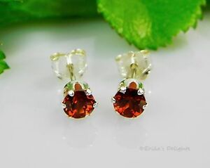 Genuine-Mozambique-Garnet-Round-Sterling-Silver-Earrings-FREE-SHIPPING