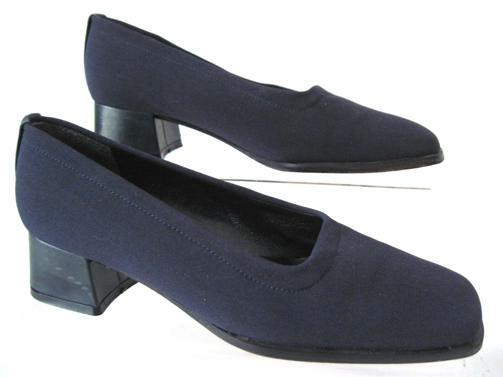 STUART WEITZMAN Navy bluee Fabric Square Toe Heels Pumps Size 4 B Spain