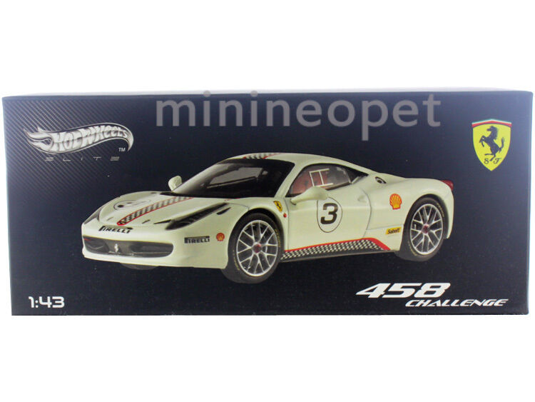 HOT WHEELS ELITE X5505 FERRARI 458 CHALLENGE  43 DIECAST WHITE