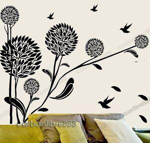 Huge Dandelion Flower Vine &Birds Wall Stickers Art Decal ...
