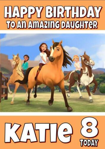 SPIRIT RIDING FREE horses PERSONALISED BIRTHDAY CARD ANY NAME AGE RELATION