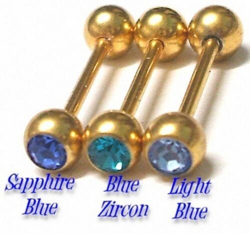 3 GOLD PL TONGUE Bars Barbell Rings Set #E Body Jewellery * SAROVSKA CZs