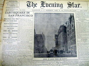 4 1906 display newspapers THE GREAT SAN FRANCISCO EARTHQUAKE Disaster CALIFORNIA