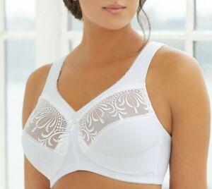 Glamorise MAGIC LIFT Bra 44i (COMFORT STRAPS) Support (WIRELESS) Lace WHITE NEW