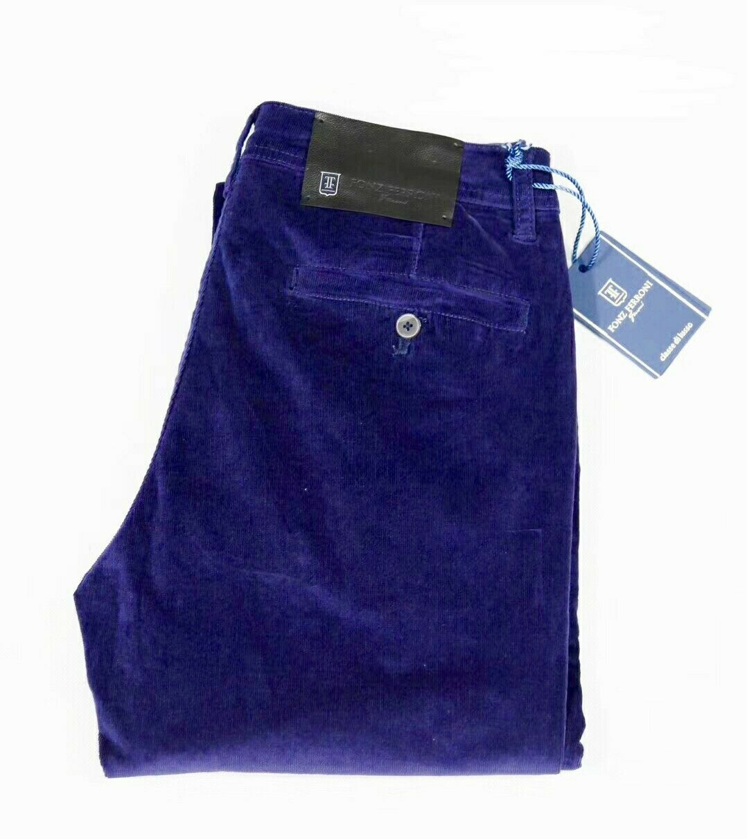 Fonz Ferroni Corduroy Pants Purple Stretch Fabric Modl  JFW-9801 Straight Sz 33