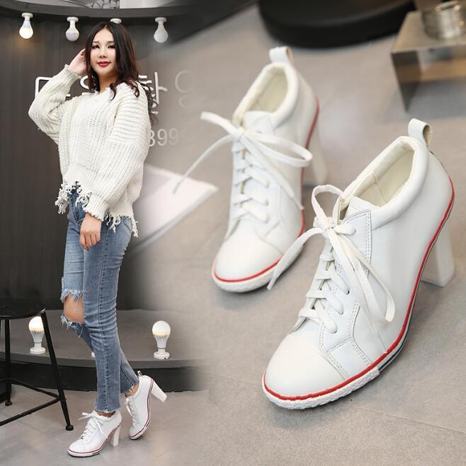 Chic Womens Formal Kitten Heel Lace Up Round Toe Loafers Sneaker Atnletic Shoes