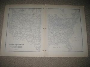 Antique 1928 United States Canada Highway Road Map Texas California