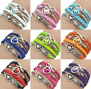 Damen-Armband-Leder-Wickelarmband-Freundschaft-Lederarmband-Herz-Geschenk-Farben