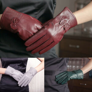 Womens-Gloves-Bowknot-Genuine-Leather-Winter-Warm-Driving-Soft-Lining-Thermal