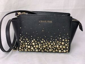 b29fa79f4611 Image is loading Michael-Kors-Selma-Stud-Medium-Messenger-Metallic-Leather-