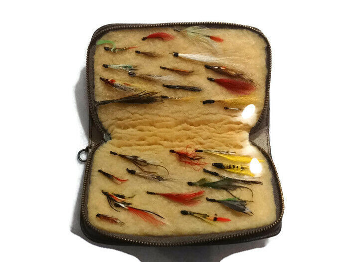 Vintage Fly Fishing Pouch with Flies Fishing  Lures Wallet  luxury brand
