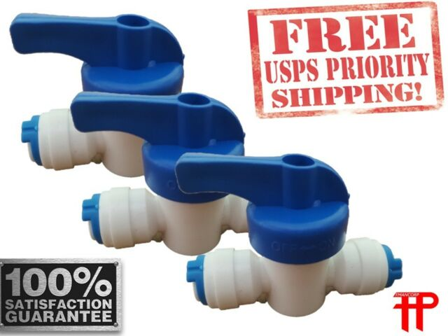 5pcs 1//4 3-way Union Tee Quick Connect Ball Valve Fit Ro Water Reverse Osmosis