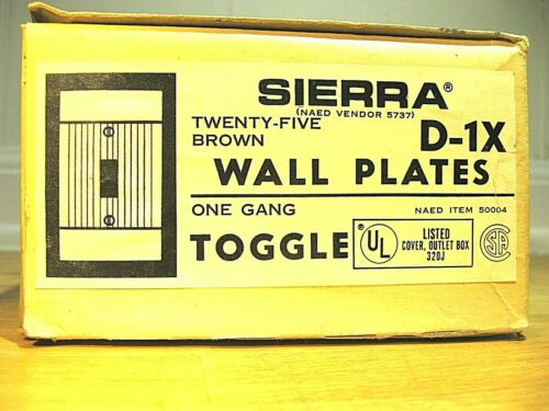 NOS Vtg Brown Sierra Single Switch Wall Plate Cover Ribbed Bakelite MCM Deco 50s