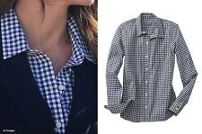 Rare Vintage GAP white blue navy gingham check shirt top Size S petite ASO