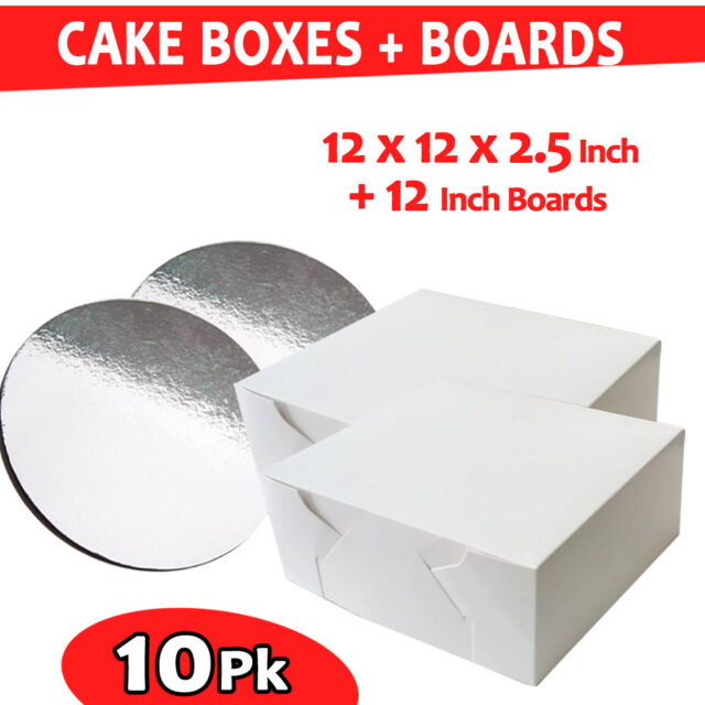 Cake Boxes 12 x 12 x 2.5 10 Pc + 10 Pc Cake Boards 12 Inches Round Silver