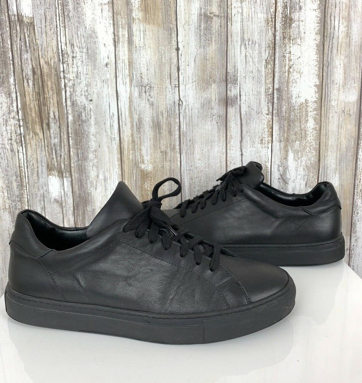 Svensson Classic Black Leather Low Cut Sneakers Lace Up 40 Mens 7 Womens 9 ITALY