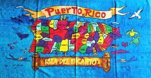 Puerto Rico Rican 30 x 60 INCHS Beach Towel (Cotton Twill) BORICUA FLAG CITIES