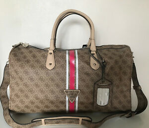 NEW-GUESS-BROWN-OVERNIGHT-CARRY-ON-TRAVEL-WEEKENDER-LUGGAGE-TOTE-BAG-148-SALE