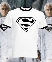 Superman T-Shirt Tee Super Man Christopher Reeve Movie Tv Show Ringer Top S-2XL