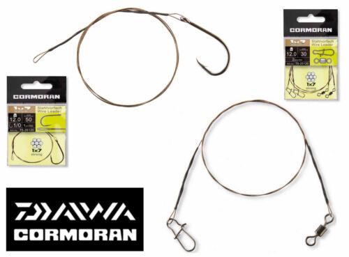 Daiwa Cormoran 1x7 Stahlvorfach mit Wirbel /& Snap oder Schlaufe und Einzelhakel