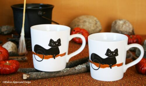 2 -NWT CRATE /& BARREL BLACK CAT ESPRESSO MUGS MAKE A COOL,SWEEPING STATEMENT