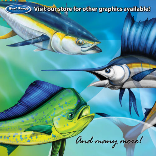 Yellow Fin Tuna Graphics set of 300mm Boat Graphics