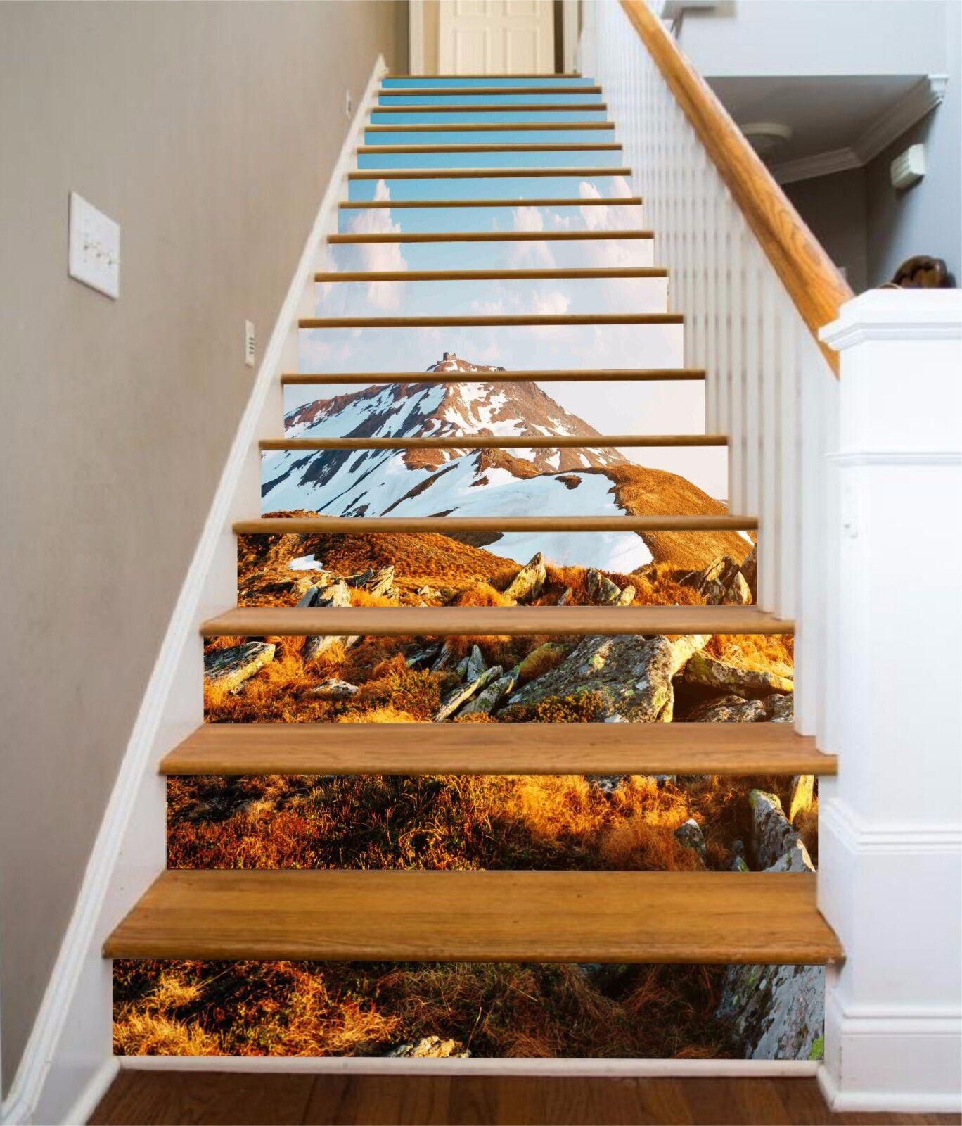 3D neige montagne 3 escaliers contremarches Décoration Photo Murale Autocollant Vinyle Papier Peint US
