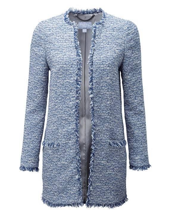 Pure Collection Tweed Con Frange giacca sartoriale dal taglio lungo lungo lungo Blu Taglia LF089 CC 21 e6c72d