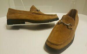 Farrux-Men-039-s-Tan-Suede-Slip-On-Silver-Horse-Bit-Loafers-Shoes-6939-Sz-7