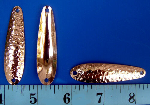 """Copper Plated Hammered 2 3//8/"""" Flutter Spoon Blanks .025 Thick Walleye Candy 6"""