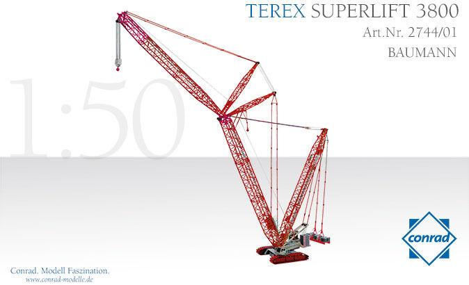 Conrad 2744-01 Terex Baumann 3800 Superlift Crawler Crane Diecast Escala  En Caja Como Nuevo